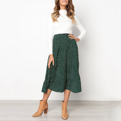 Sweet Polka Dot Printed Elastic Waist Skirt