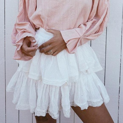White Chiffon Sexy Vacation   Short Skirt