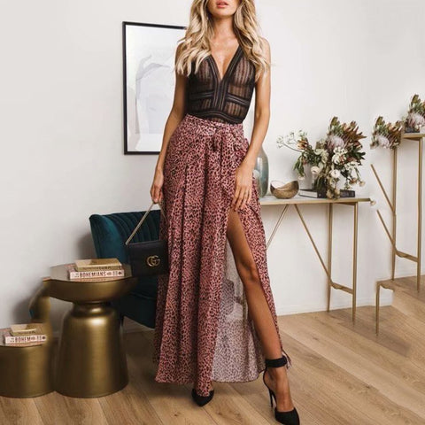 2019 Summer Small Leopard Print Belt Slit Casual Wide Leg Pants Trousers
