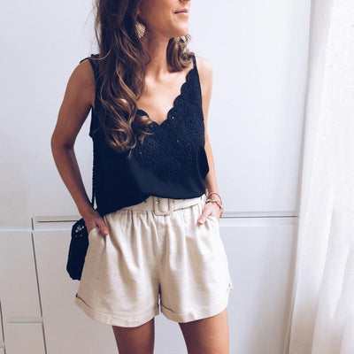 Sexy Sling Lace Solid Color Top Vest