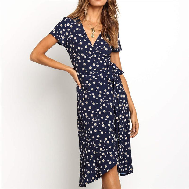 V-Neck Short-Sleeved High-Rise   Lace-Up Chiffon Dress