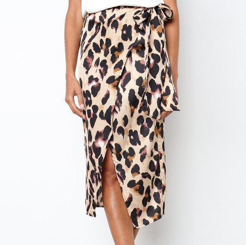Leopard Print Lace-Up Skirt