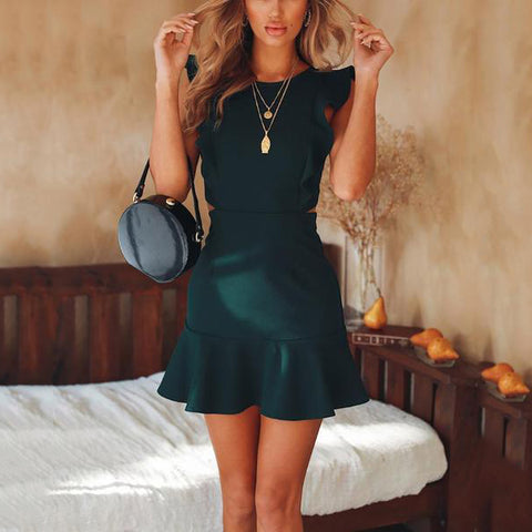 Solid Color Sleeveless Round Neck Ruffled Halter Mini Dress