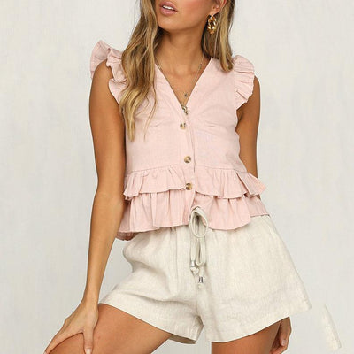 Ruffled Button V-Neck Solid Color Camis