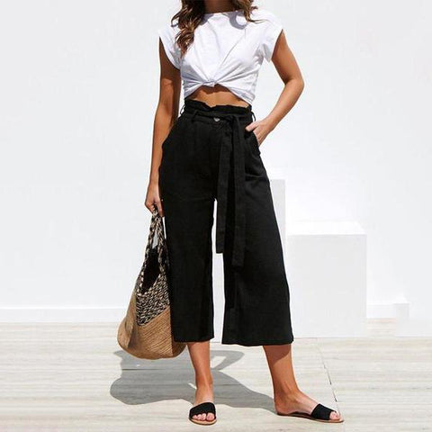 Strap Wide Leg Casual Trousers