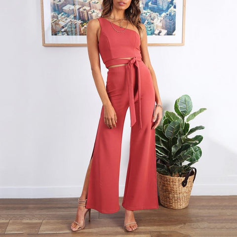 Sleeveless Slim Lace Top + Split Straight Pants