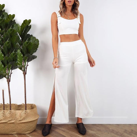 Round Neck Sleeveless Slinky + Split Straight Pants Suit