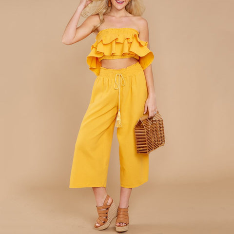 Slim Fit Wrapped Chest + Lace-Up Wide-Leg Pants