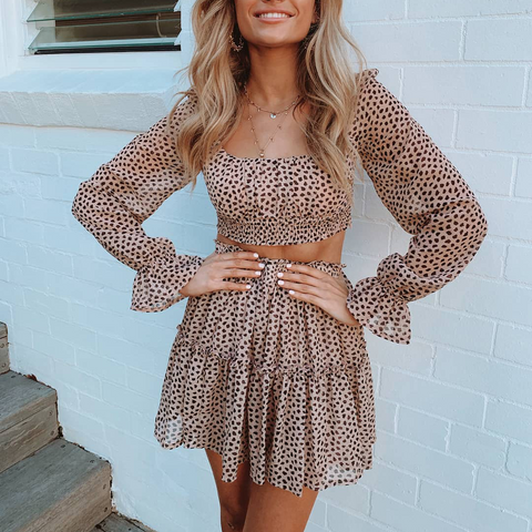 Sweet Square Collar Long Sleeve Top + Pleated Skirt