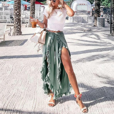 Ruffled Ear Casual Casual Wide-Leg Pants