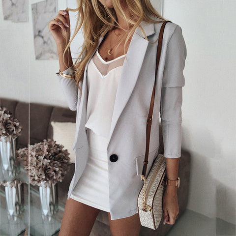 Commuting Long Sleeve Solid Color Blazer