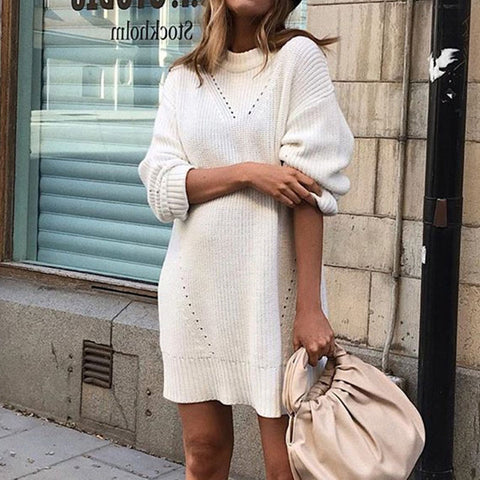 Casual Long Sleeve Round Neck Knit Dress