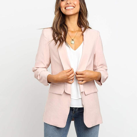 Women's Casual Pure Color Tailored Collar Patch Pocket Blazer