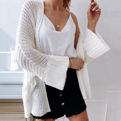 Women's Casual Pure Color Long Sleeve Cardigan Sweater