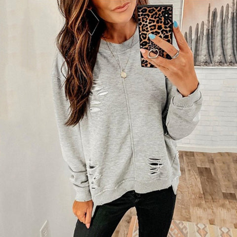 Women's Casual Round Neck Long Sleeve Pure Color Top