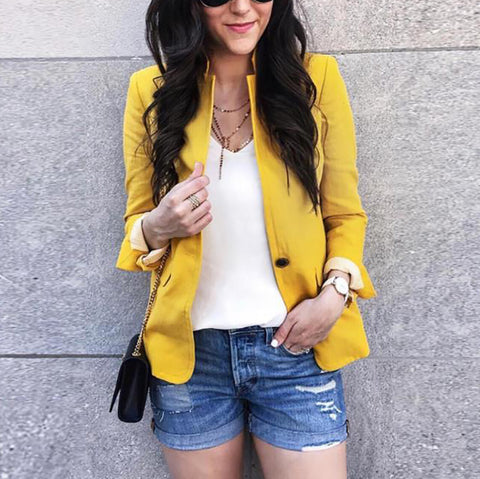 Fashion Pure Color Single-Breasted Blazer