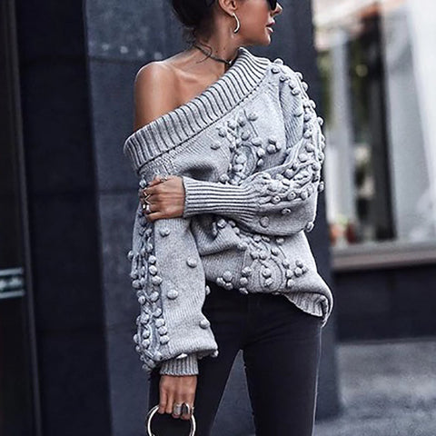 Women's Casual Pure Color Long Sleeve Single Off-Shoulder Sweater