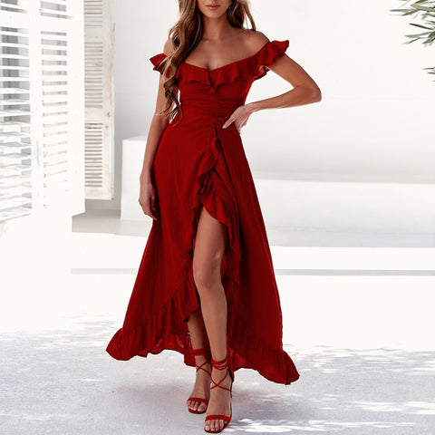 Elegant Off-Shoulder Pure Colour Ruffled Party Dress