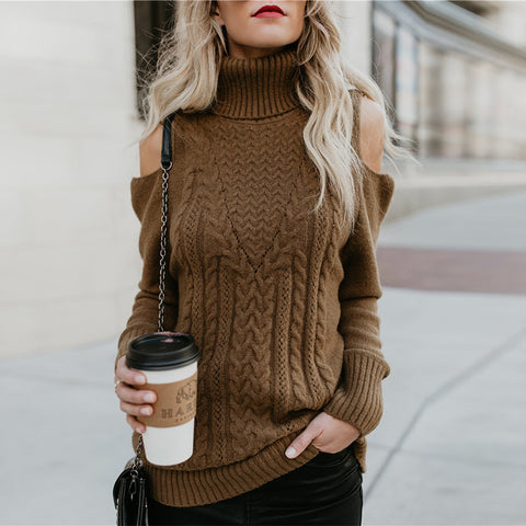Fashion Casual Shoulder Out Short High Collar Sweater