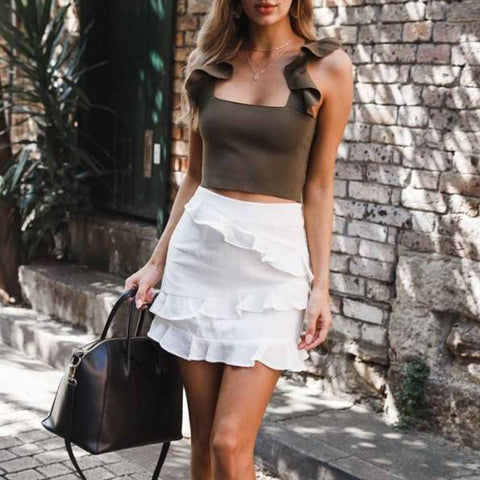 White Ruffled Versatile Skirt
