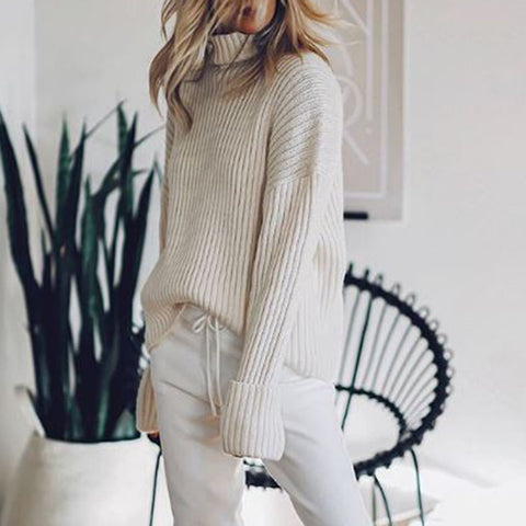 Fashion High Neck Pure White Knit Sweater