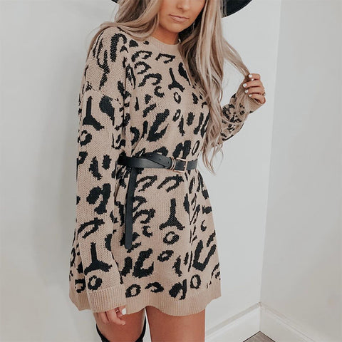 Fashion Printed Long Sleeve Round Neck Knit Dress