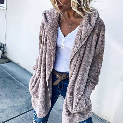 Women's Casual Loose Solid Color Long-Sleeved Coat