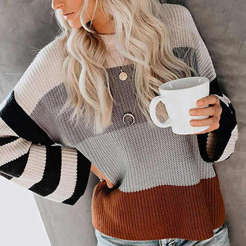 Round Neck Spliced Long-sleeved Sweater