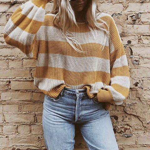 Fashion Striped Loose Knit Sweater
