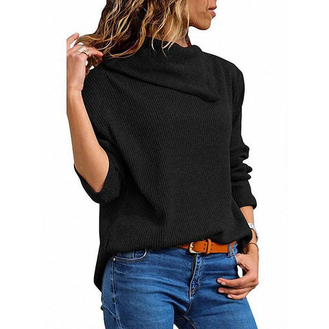 Fashion Loose Asymmetric Collar Long Sleeve Knitted Hoodie Sweater