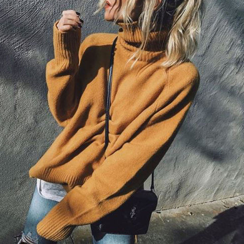 Fashion Solid Color High Neck Knit Bottoming Sweater