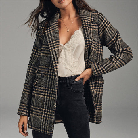 Women's Lapel Check Print Blazer