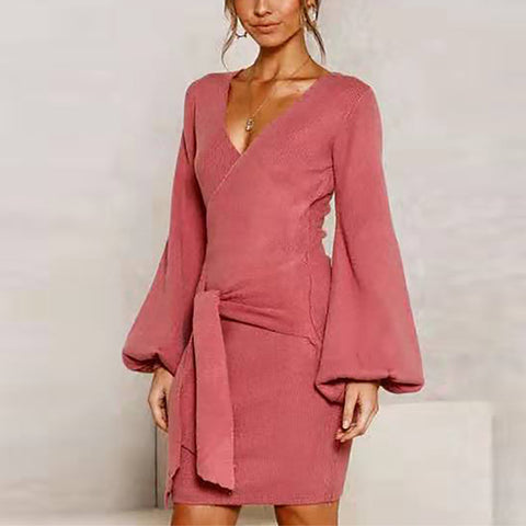 V-neck Tie With Solid Long-sleeved Knit Dress