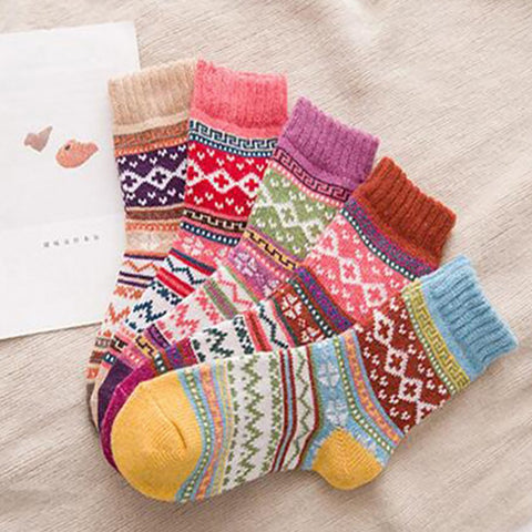 Thicken literary folk style cashmere socks