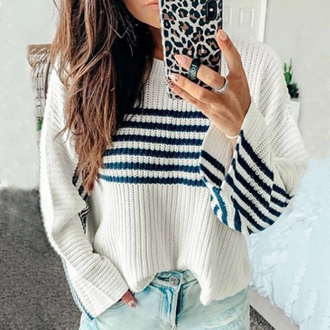 Casual Round-Collar Color-Matching Sweater