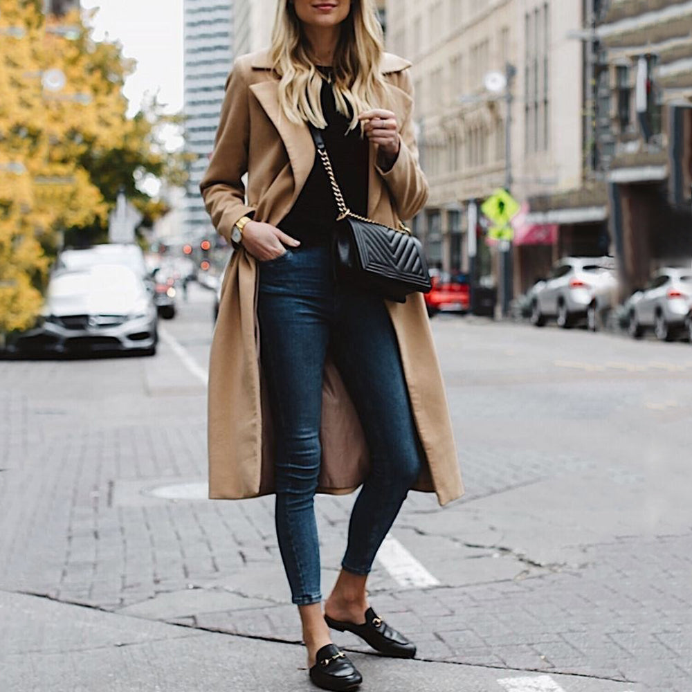 Casual Solid Color Lapel Long Sleeve Coat