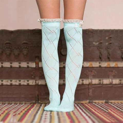 Fashion Long Diamond Pattern Stockings