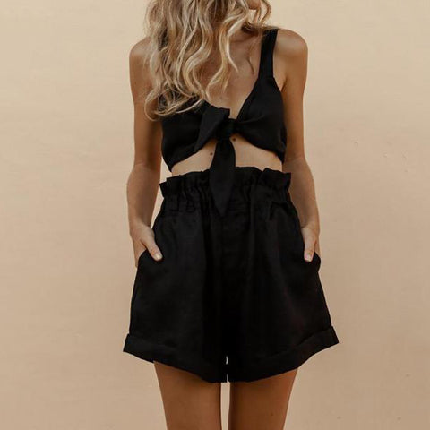 Sleeveless Umbilical Elastic Waist Shorts Suit