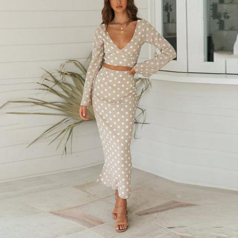 Small V-Neck Long Sleeve Polka Dot Dress Set