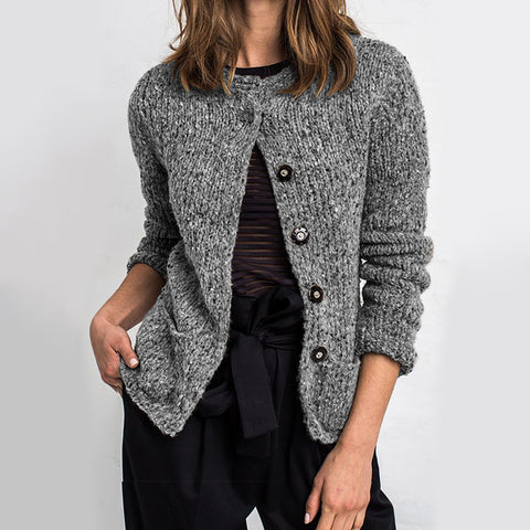 Bohemian Solid Color Single-breasted Knit Cardigan