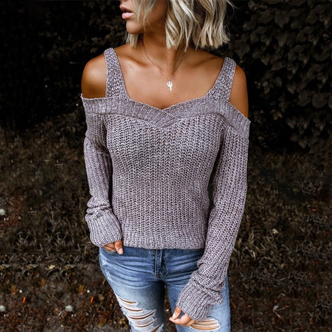 Casual Sling Strapless Long Sleeve Gray Sweater