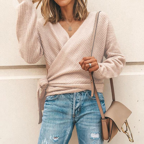 Elegant V Neck Side Lacing Loose Wrapped Sweater