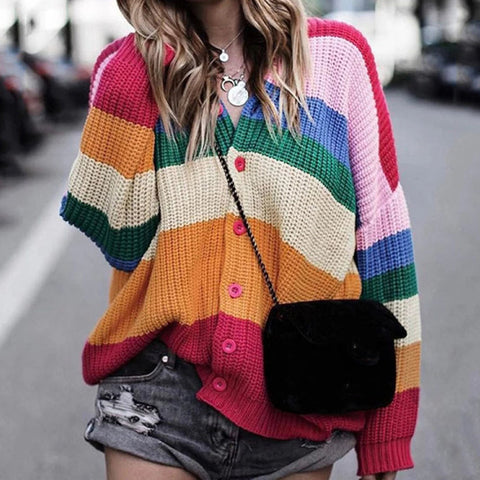 Fashionable Round Collar Stripe Sweater