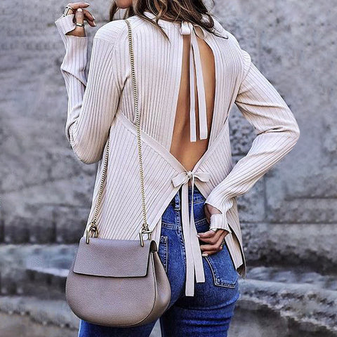 Sexy Halter Solid Color Long Sleeve Sweater