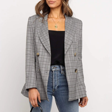 Fashion plaid print long sleeve blazer