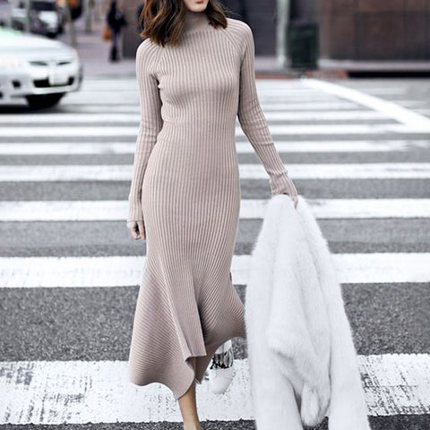 Daily Pure Color Round Neck Long Sleeve Knit Dress