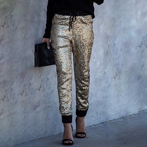 Casual Metallic Sequins Elastic Waist Trousers