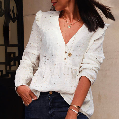 Fashion Deep V Neck Long Sleeve T-Shirt