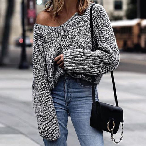 Women's V-neck Knit Sweater