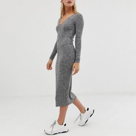 Casual Gray Deep V-neck Knit Long Sleeves Fitted Dress